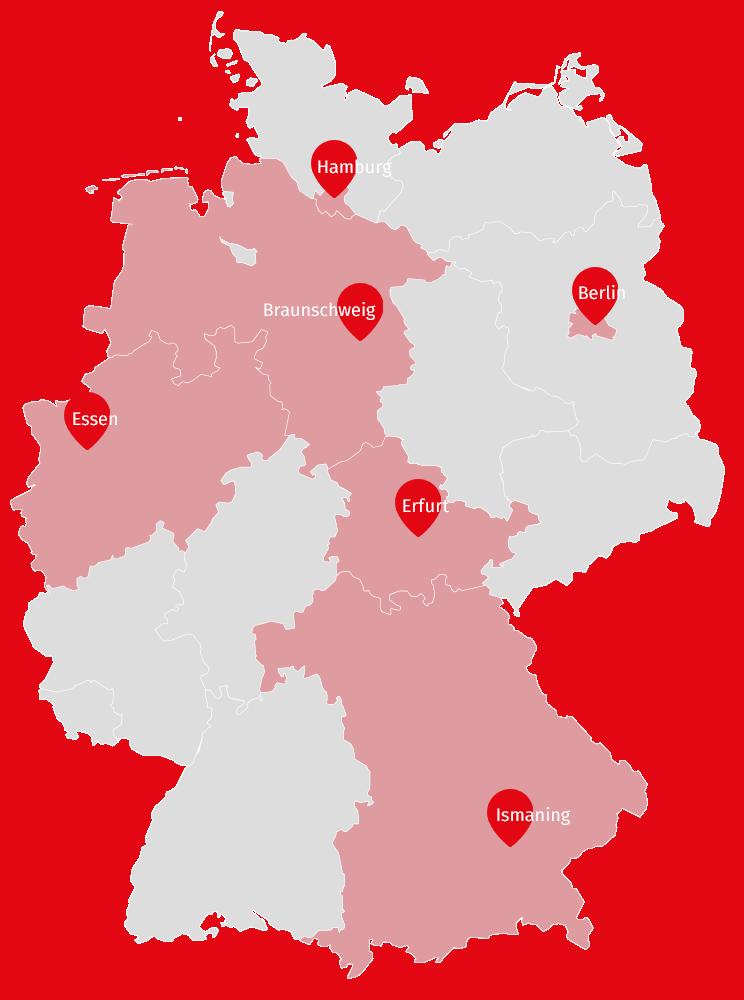 Die Standorte von FUNKE Technology